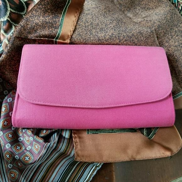 Vintage Handbags - Vintage pink clutch purse evening bag mini prom